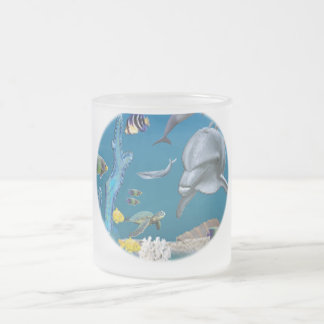 Dolphin art frosted glass coffee mug