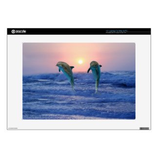 Dolphin at sunrise decals for laptops