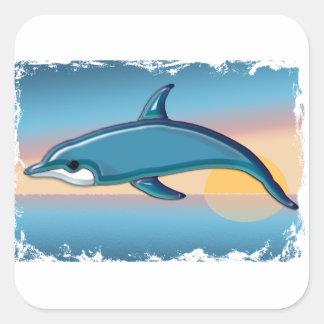 Dolphin at Sunrise Square Sticker