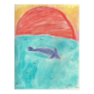 dolphin at sunset by Madeleine Postcard