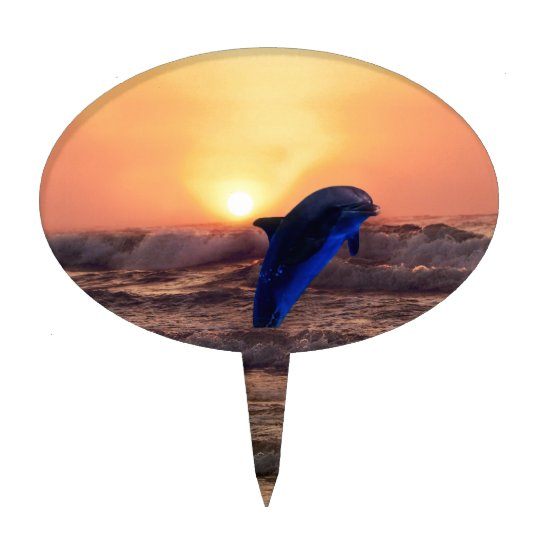 Dolphin at sunset cake topper
