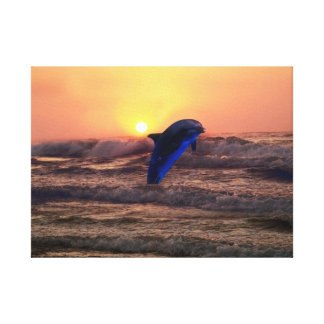 Dolphin at sunset stretched canvas print