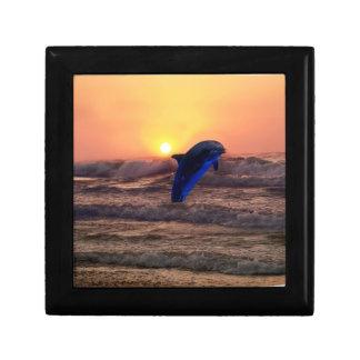 Dolphin at sunset keepsake box