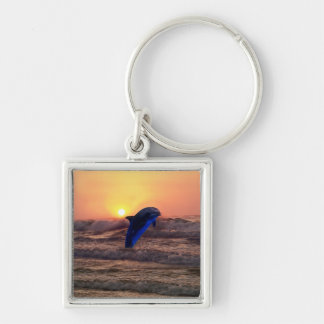 Dolphin at sunset keychain