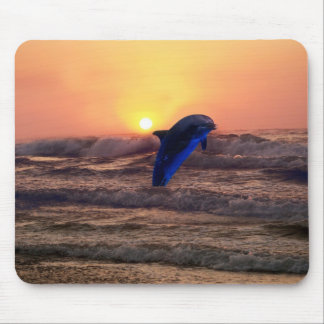 Dolphin at sunset mouse pad