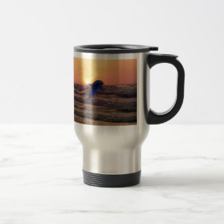 Dolphin at sunset 15 oz stainless steel travel mug