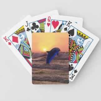 Dolphin at sunset card decks