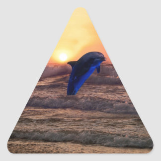 Dolphin at sunset triangle sticker