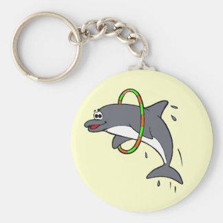 Dolphin Basic Round Button Keychain