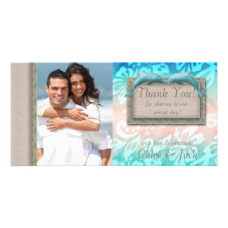 Dolphin Beach Wedding Thank You Photocard Picture Card