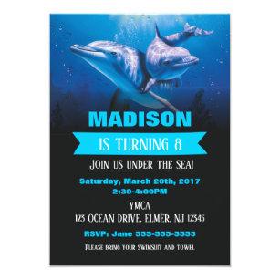 Dolphin birthday party invitations announcements zazzle dolphin birthday invitaion pool party invite filmwisefo