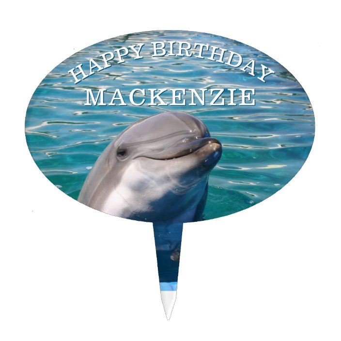 Dolphin with Name Personalized Happy Birthday Cake Topper