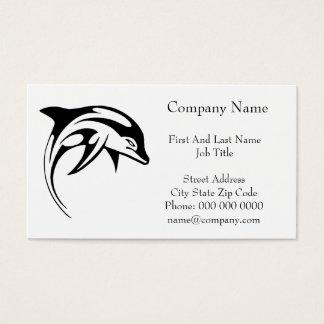 Dolphin Black Tribal Dolphin Cartoon Tattoo Business Card
