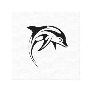 Dolphin Black Tribal Dolphin Cartoon Tattoo Canvas Print