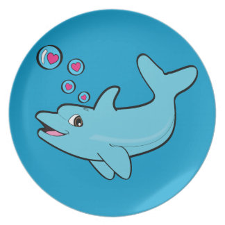 Dolphin Blowing Heart-Filled Bubbles Party Plates