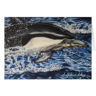 dolphin blue greeting card