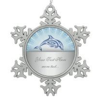 Dolphin Blue Mandala Personalize Snowflake Pewter Christmas Ornament