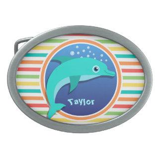 Dolphin; Bright Rainbow Stripes Oval Belt Buckle