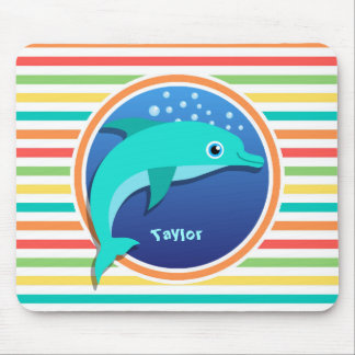Dolphin; Bright Rainbow Stripes Mouse Pad