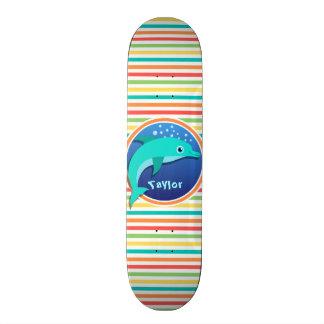 Dolphin; Bright Rainbow Stripes Skateboard