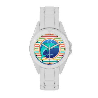 Dolphin; Bright Rainbow Stripes Watches