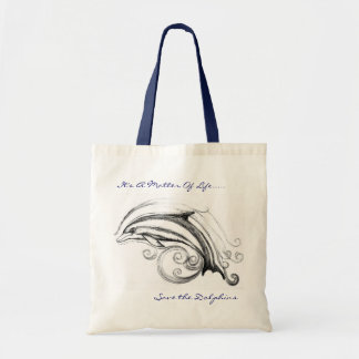 Dolphin Budget Tote Bag in Natural & Navy