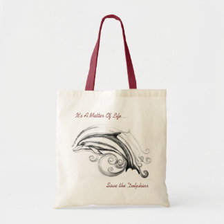 Dolphin Budget Tote Bag in Natural & Red