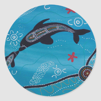 Dolphin & Calf Dreaming Classic Round Sticker