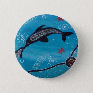 Dolphin & Calf Dreaming Pinback Button