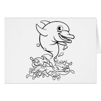 Dolphin Cartoon Character Splashing Card