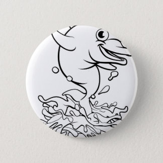 Dolphin Cartoon Character Splashing Pinback Button