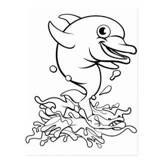 Dolphin Cartoon Character Splashing Postcard