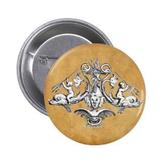 Dolphin, Cherub and Gargoyle Nautical Emblem Pinback Button