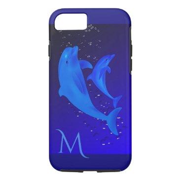 Beach Themed Dolphin Cobalt Blue Ocean Sea Monogram iPhone 7 iPhone 7 Case
