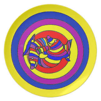 Dolphin color swirl dinner plate