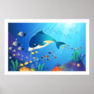 Dolphin & Colorful Sea-Life Digital Illustration Poster