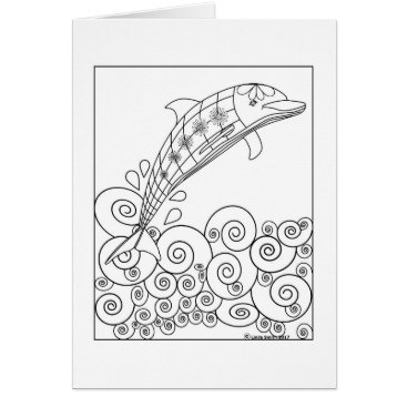Beach Themed Dolphin Coloring Card
