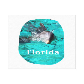 dolphin coming out of teal clear water florida canvas print