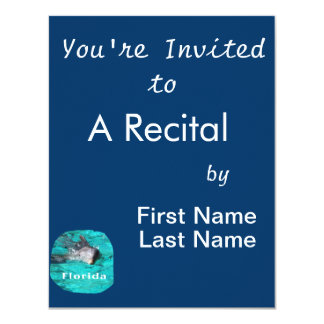 dolphin coming out of teal clear water florida 4.25x5.5 paper invitation card