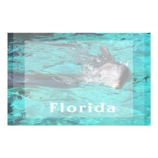 dolphin coming out of teal clear water florida.jpg stationery