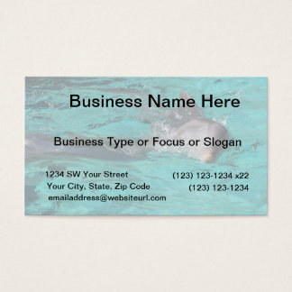 dolphin coming out of teal water full page business card