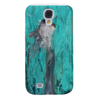dolphin coming out of teal water full page galaxy s4 case