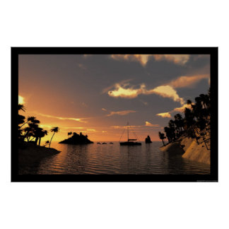 dolphin cove at sunset poster