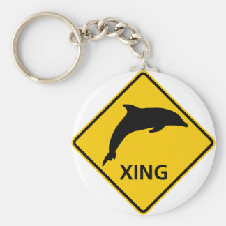 Dolphin Crossing HIghway Sign Key Chains