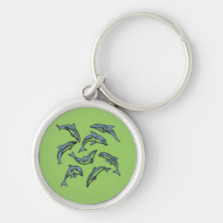 DOLPHIN DANCE 2 Silver-Colored ROUND KEYCHAIN