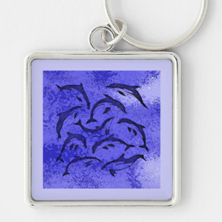 DOLPHIN DANCE Silver-Colored SQUARE KEYCHAIN