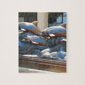 DOLPHIN dance statue near Boston Aquarium USA Jigsaw Puzzle