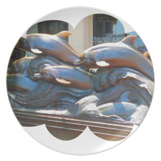 Dolphin Dance statue outside Boston Aquarium Dinner Plate