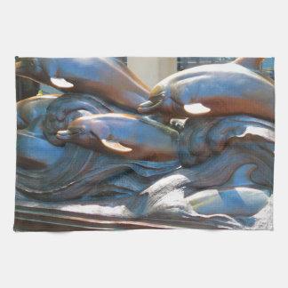 Dolphin Dance statue outside Boston Aquarium Towels