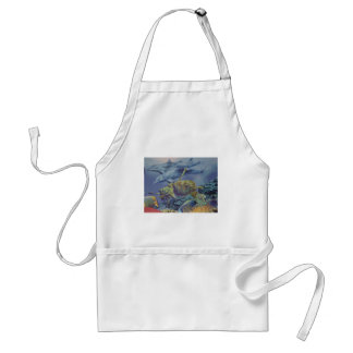 Dolphin Dance with Tropical Fish Adult Apron